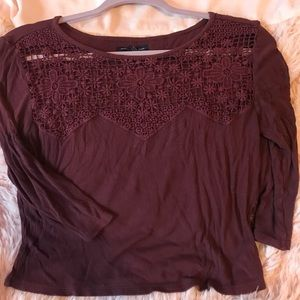 American Eagle Cropped Lace Tee